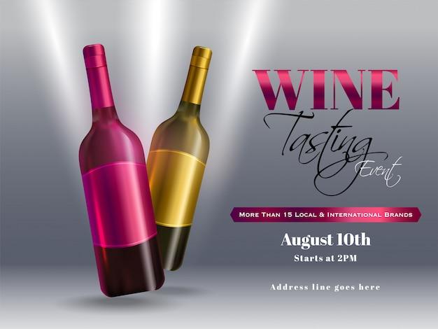 Bottiglie di vino realistiche su sfondo grigio lucido per la progettazione di banner o poster festa evento di degustazione di vini.