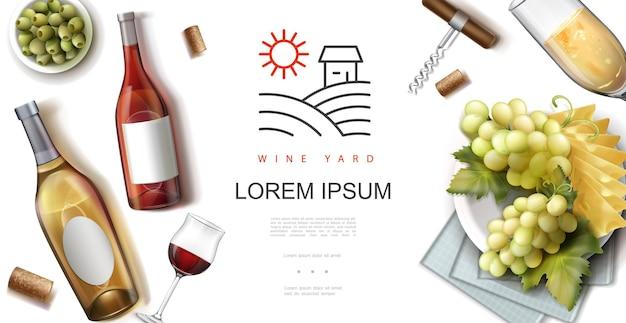 Realistico concetto di vino premium con bottiglie e bicchieri pieni di vini rosati bianchi rossi cavatappi tappi olive verdi