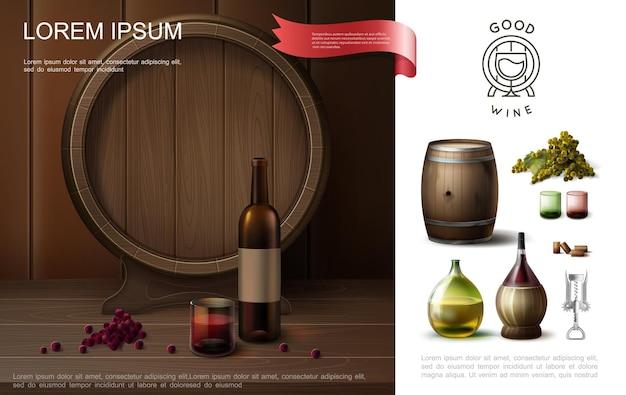 Composizione variopinta realistica di vinificazione con le bottiglie originali del barilotto di legno di bicchieri di vino cavatappi e grappolo di uva