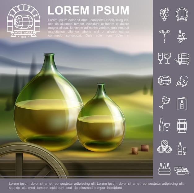Modello tradizionale di vinificazione realistico con bottiglie piene di vino bianco sull'illustrazione del paesaggio del vigneto