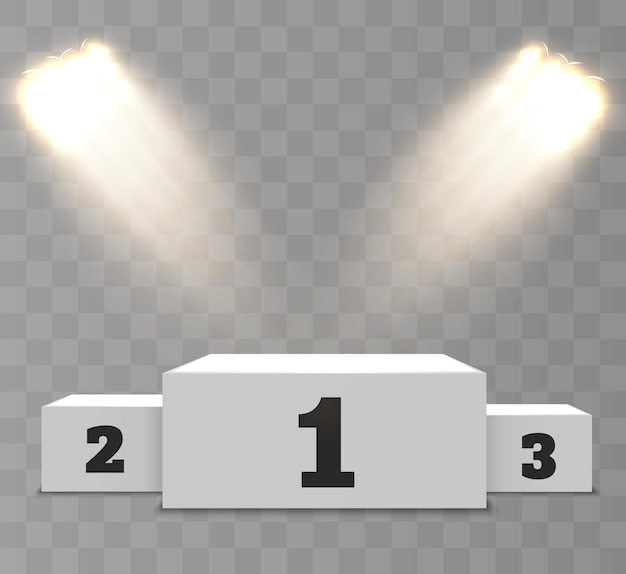 Podio dei vincitori realistico su un trasparente con bellissime luci.