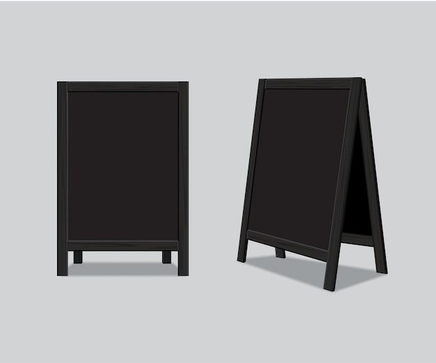 Bordo di annuncio del menu nero in legno realistico.
