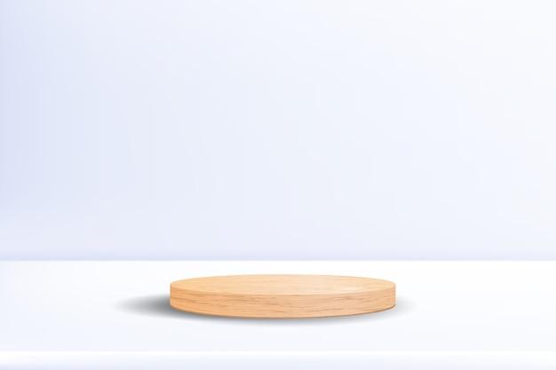Podio in legno realistico su sfondo bianco neutro
