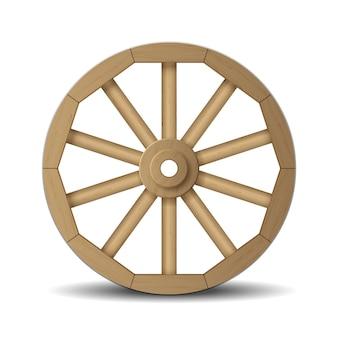 Ruota di legno realistica per carrello vecchio e retrò isolato su bianco