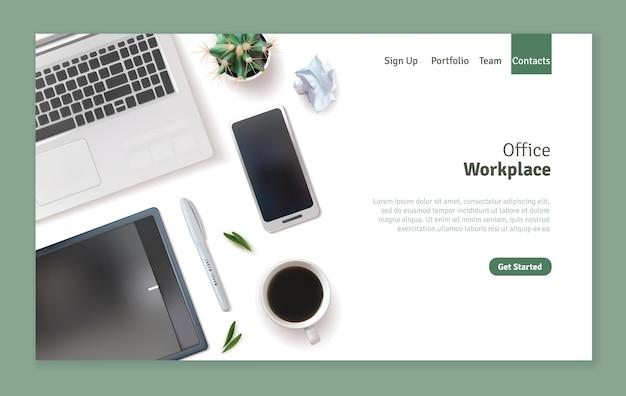 Design realistico della pagina di destinazione sul posto di lavoro