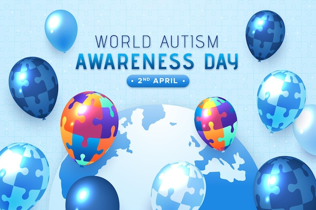 Illustrazione realistica del giorno di consapevolezza dell'autismo del mondo