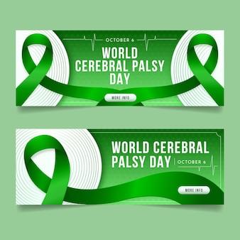 Set di banner orizzontali per la giornata mondiale della paralisi cerebrale realistica