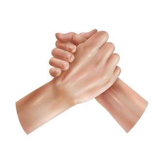 Composizione realistica della giustizia sociale di giornata mondiale con mani umane che si stringono a vicenda