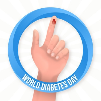 Mano di giornata mondiale del diabete realistico con una goccia di sangue