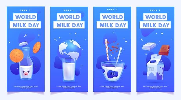 Set di banner di giornata mondiale del latte realistico