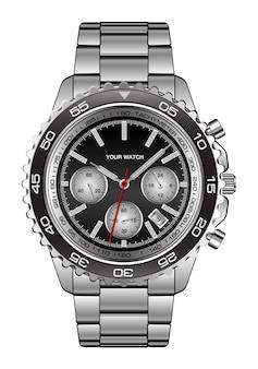 Realistico orologio da polso in acciaio design nero per uomo di lusso su bianco
