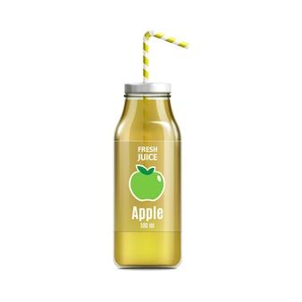 Mockup di bottiglia di succo di mela gialla realistico con etichetta icona mela verde