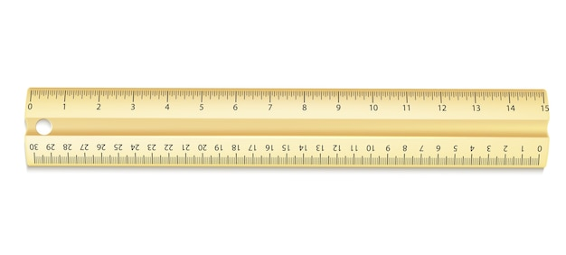 Righello giallo realistico con centimetri e pollici Vettore Premium