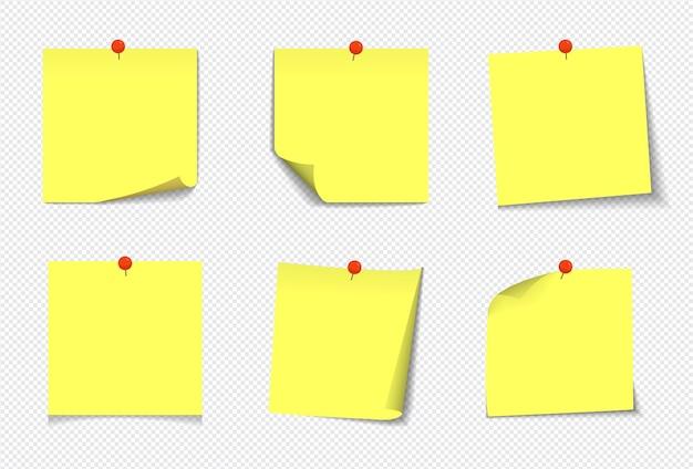 Note appiccicose gialle realistiche isolate con ombra reale su priorità bassa bianca. promemoria di carta adesiva quadrati con ombre, pagina di carta.
