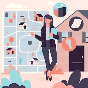 Illustrazione di assistenza dell'agente immobiliare