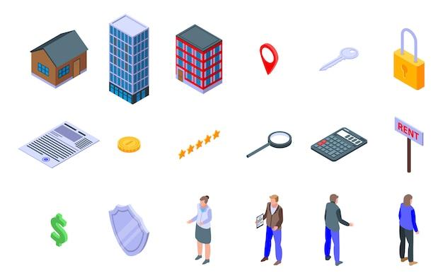 Set di icone agente immobiliare, stile isometrico