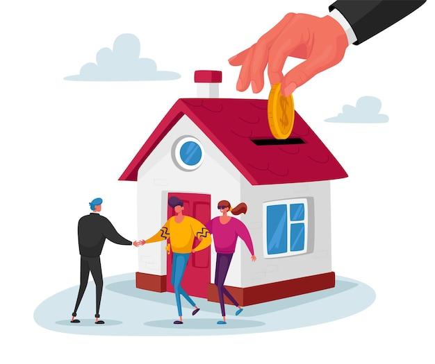 Agente immobiliare che vende casa a coppia che compra casa