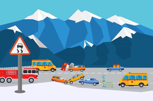 Rianimazione sul luogo dell'incidente stradale, illustrazione di risultato. automobile di collisione vicino alla montagna, assistenza di cura per feriti