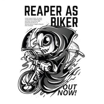 Mietitore come illustrazione in bianco e nero del motociclista