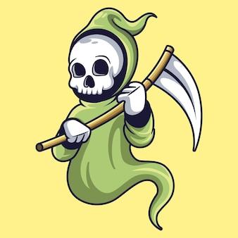 Reaper mascotte carattere divertente design illustrazione