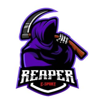 Reaper mascotte logo design vettore. illustrazione di grim reaper per la squadra sportiva