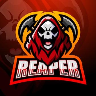 Reaper cranio mascotte esport logo design