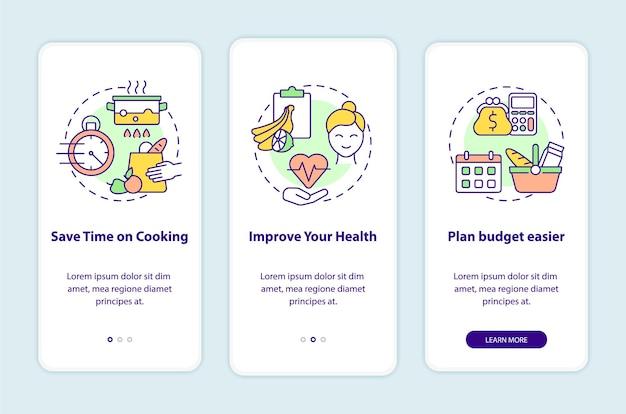 Motivi per la pianificazione dei pasti nella schermata della pagina dell'app mobile a bordo. cooking walkthrough 3 passaggi istruzioni grafiche con concetti. modello vettoriale ui, ux, gui con illustrazioni a colori lineari