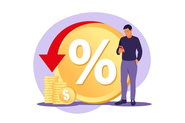 Programma di sconti, vantaggi per i consumatori, concetto di sconto di vendita. risparmio di denaro. servizio di rimborso. trasferimento dei costi. illustrazione vettoriale. piatto.