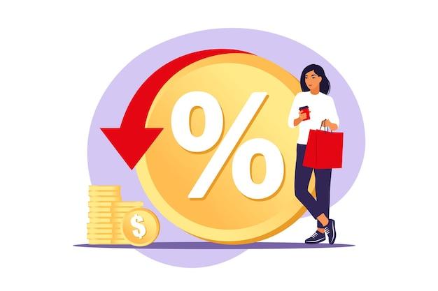 Programma di sconti, vantaggi per i consumatori, concetto di sconto di vendita. risparmio di denaro. servizio di rimborso