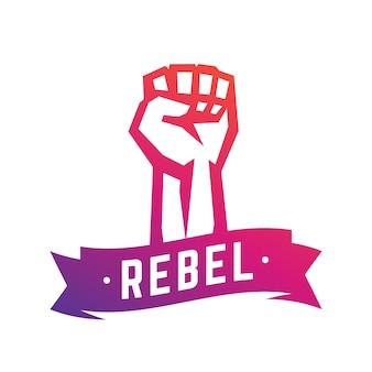 Ribelle, simbolo di rivolta, pugno alzato in segno di protesta, mano alzata isolata su bianco, illustrazione vettoriale