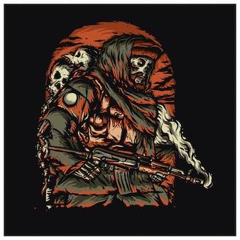 Illustrazione di esercito ribelle cranio