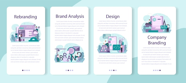 Rebranding set di banner per applicazioni mobili.