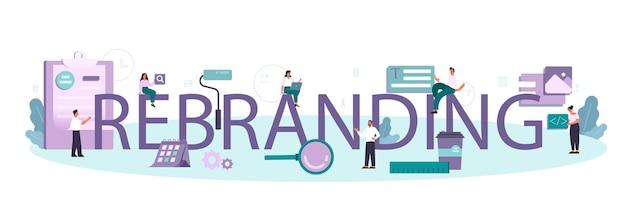 Rebranding intestazione tipografica.