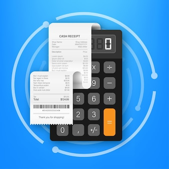 Ricevute di effetti cartacei di pagamento realistici per transazioni in contanti o con carta di credito. illustrazione di riserva di vettore