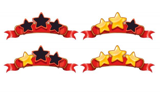 Ricezione della schermata del gioco di realizzazione dei cartoni animati. illustrazione vettoriale con stelle dorate.