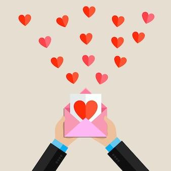 Ricezione o invio di e-mail e sms d'amore per san valentino.