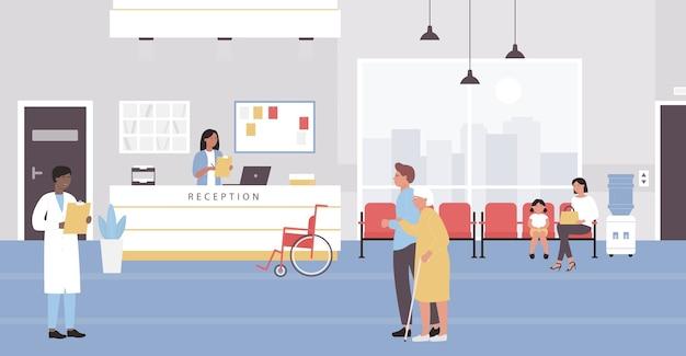 Accoglienza stanza d'ospedale con pazienti