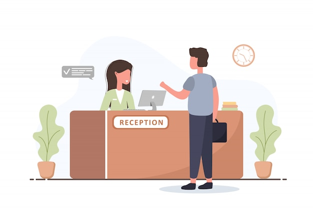 Interno della reception. receptionist di giovane donna e uomo con valigetta alla reception. prenotazione di hotel, clinica, registrazione dell'aeroporto, concetto di reception di banca o ufficio. cartoon illustrazione piatta.