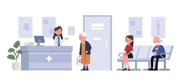 Receptionist e pazienti si siedono e aspettano davanti alla stanza in ospedale in stile piatto. illustrazione personaggio dei cartoni animati