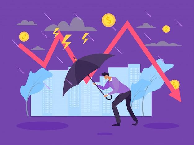 Concetto di crisi finanziaria di recessione, rallentamento nell'illustrazione di produzione. il personaggio dell'uomo con l'ombrello va contro il tempo
