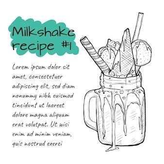 Ricetta di milkshake, frullato con caramelle, gelato, fragole e cannella.