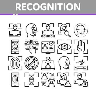 Insieme di icone degli elementi della raccolta di riconoscimento