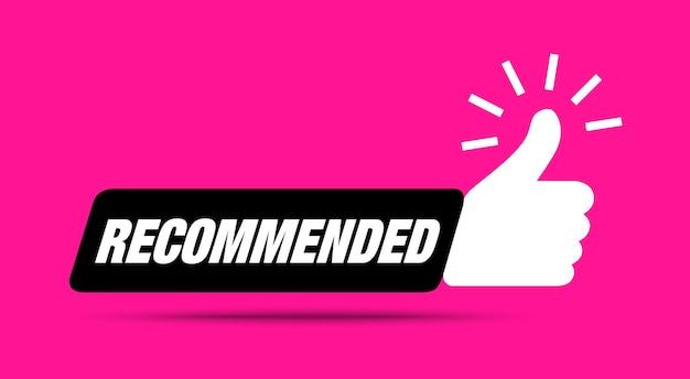 Icona consiglia pollice in su raccomandazione best seller etichetta vendita consigliata adesivo bestseller