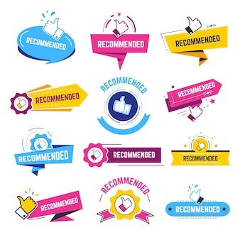 Raccomandazione e approvazione della produzione, etichette o emblemi isolati con pollice in su