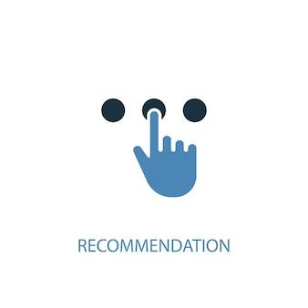Concetto di raccomandazione 2 icona colorata. illustrazione semplice dell'elemento blu. design del simbolo del concetto di raccomandazione. può essere utilizzato per ui/ux mobile e web