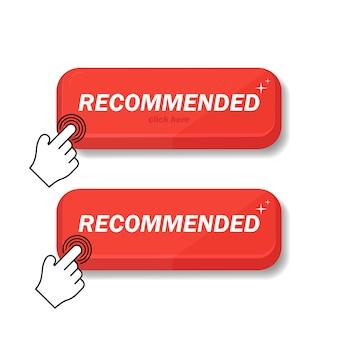 L'icona consigliata è rossa. consiglio un clic per il cliente. raccomando il segno lineare con la pressione di un giorno di un dito. firma il marchio consigliato. il miglior tag per un grande marchio.