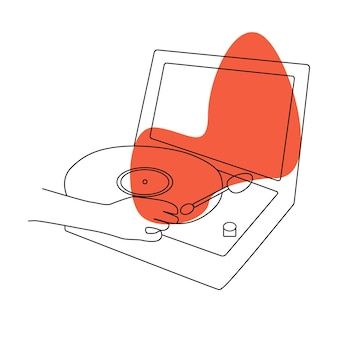 Registrare l'illustrazione di doodle di musica in vinile. sottofondo musicale. stile vintage. disegno vettoriale. contesto piatto del fumetto.