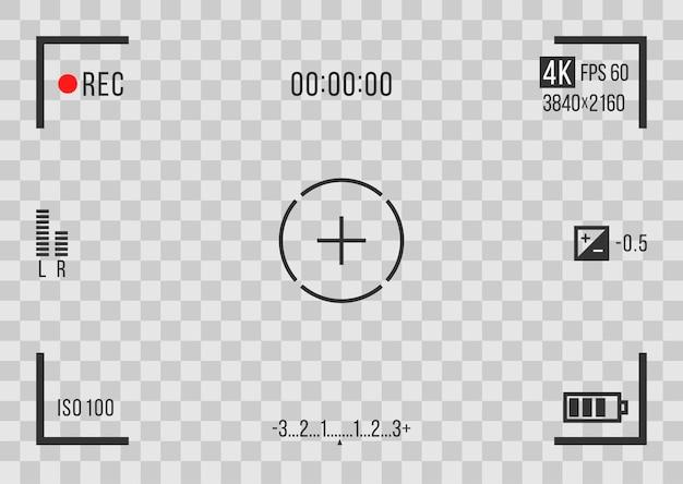 La camma del registratore mostra lo schermo del mirino del registratore per il vettore di anteprima della registrazione del filmato