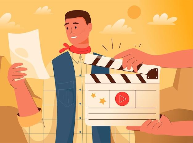 Registrazione della scena del film e recitazione davanti alla telecamera