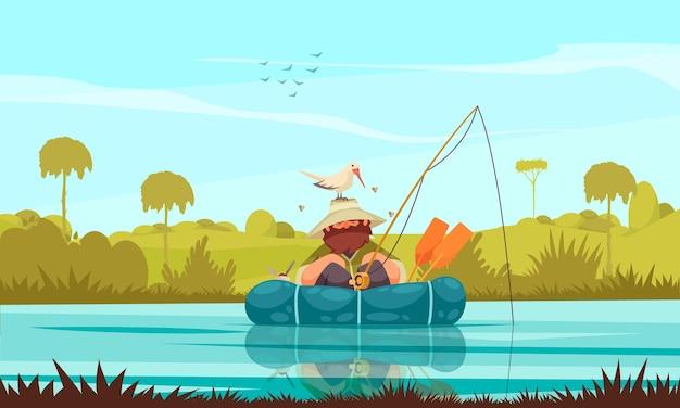 Composizione piatta per la pesca ricreativa con pescatore che pesca in barca il gabbiano che costruisce il nido sul suo cappello